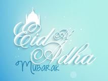 Eid-Al-Adha celebration with stylish text and mosque. 3D glossy stylish text Eid Al Adha Mubarak with silhouette of mosque on sky blue background for muslim Stock Photography