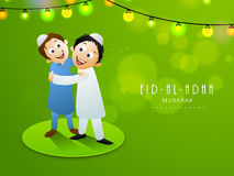 Eid-Al-Adha celebration with stylish text and mosque. Illustration of cute kids hugging and giving wishes to each other on occasion of muslim community festival Royalty Free Stock Image