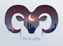 Eid al Adha Feast av offret Huvud av den RAMkonturn, minaret och månen i natthimmel royaltyfri illustrationer
