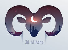 Eid al Adha Feast of Sacrifice. Head of ram silhouette, minaret and moon in night sky. Template vector text for greeting card Royalty Free Stock Image