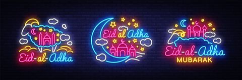 Eid-Al-Adha festive card collection design template in modern trend style. Neon style, Islamic and Arabic background for. The holiday of the Muslim community Stock Image