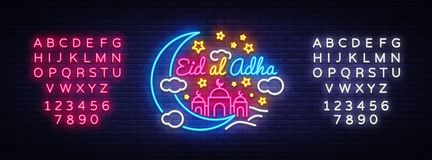 Eid-Al-Adha festive card design template in modern trend style. Neon style, Islamic and Arabic background for the. Holiday of the Muslim community. Kurban Stock Photography