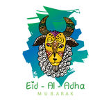 Eid al-Adha greeting card with sheep. Hand rawing illustration Stock Image