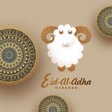 Eid-Al-Adha, Islamic festival of sacrifice concept with sheep an. D golden mandala design. Eid-Al-Adha Mubarak Royalty Free Stock Photos