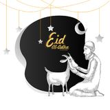 Eid-Al-Adha, Islamic festival of sacrifice concept with sketch o. F an Islamic man praying before sacrifice of goat Stock Image