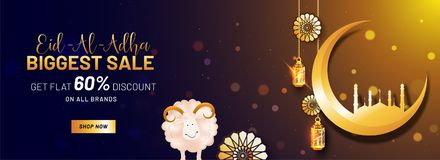 Eid-Al-Adha, Islamic festival of sacrifice,  sale with sheep, t. Raditional lanterns, golden crescent moon and mosque. 60% discount offers Stock Photography