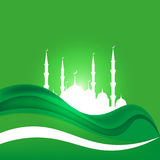Eid Al Adha. Lettering composition of moslim holy month with mosque building. Eid Al Adha. Lettering composition of moslim holy month with mosque building royalty free illustration