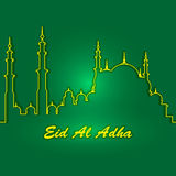 Eid Al Adha. Lettering composition of moslim holy month with mosque building. Eid Al Adha. Lettering composition of moslim holy month with mosque building vector illustration
