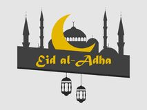 Eid al-Adha Moské, halvmånformig och lykta Kurban Bajram muslimfestival av offret ramadan kareem vektor stock illustrationer