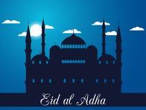 Eid Al Adha Moské i molnen på blå bakgrund Blå moské, minaret royaltyfri illustrationer