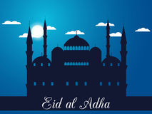 Eid al adha. Mosque in the clouds on blue background. Blue mosque, minaret. Vector illustration Royalty Free Stock Photo