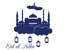Eid al adha. Mosque in the clouds on white background. Blue mosque, minaret, lantern and moon. Vector illustration Royalty Free Stock Image