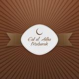 Eid al-Adha Mubarak Badge con la cinta Imagen de archivo libre de regalías