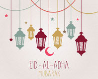 Eid Al Adha mubarak greeting card. Hanging colorful lantern Royalty Free Stock Images