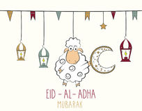 Eid Al Adha mubarak hand drawn poster. Hanging colorful lantern and sheep with moon Royalty Free Stock Images