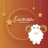 Eid-Al-Adha Mubarak, Islamic festival of sacrifice concept with. Happy sheep, hanging golden stars. Greeting card design Stock Photography
