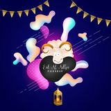Eid-Al-Adha Mubarak , Islamic festival of sacrifice concept with. Sheep, hanging illuminated lantern with golden bunting flags on fluid shape background Royalty Free Stock Photos
