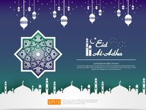Eid al Adha Mubarak islamic greeting card design with dome mosque and hanging lantern element in paper cut style. abstract mandala. With pattern ornament stock illustration
