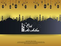Eid al Adha Mubarak islamic greeting card design with dome mosque and hanging lantern element in paper cut style. background Vecto. R illustration royalty free illustration