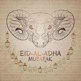Eid-Al-Adha Mubarak. Vector illustration of sheep and lantern. Royalty Free Stock Photos