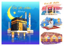 Eid Al Adha Posters with Mosques, Praying Muslim Royalty Free Stock Photos