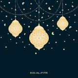 Eid-al-fitr bakgrund med stjärnamånar och dekorerade lampor stock illustrationer