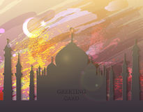 Eid al fitr card - watercolor, mosque. Eid Mubarak. Eid al-Fitr muslim traditional holiday. Muslim Festival celebration. Abstract watercolor background with Stock Image