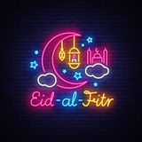 Eid-Al-Fitr festive card design template in modern trend style. Neon style, Islamic and Arabic background for the. Holiday of the Muslim community. Ramadan Royalty Free Stock Photos