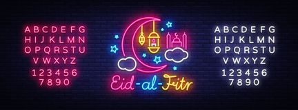 Eid-Al-Fitr festive card design template in modern trend style. Neon style, Islamic and Arabic background for the. Holiday of the Muslim community. Ramadan Stock Images