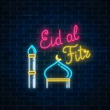Eid al fitr greeting card with with mosque dome and minaret. Glowing neon ramadan holy month sign. On dark brick wall background. Vector illustration Royalty Free Stock Photos