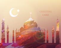Eid al-fitr. Greeting card. Watercolor mosque. Eid Mubarak. Eid al-Fitr muslim traditional holiday. Muslim Community Festival celebration. Islamic abstract Stock Photos