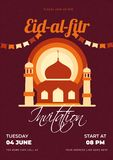 Eid-Al-Fitr Invitation card design with mosque illustration and event details. Eid-Al-Fitr Invitation card design with mosque illustration and event details on stock illustration
