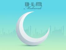 Eid-al-Fitr Mubarak celebration with 3D glossy crescent moon. Royalty Free Stock Image