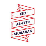 Eid Al-Fitr Mubarak greeting emblem. Happy Laylat Al-Qadr emblem isolated vector illustration on white background. 21 june world muslim holiday event label Royalty Free Stock Image