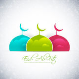 Eid Al Fitr. Nice and beautiful  abstract for Eid Al Fitr with nice and creative colourful mosque illustration in a white floral textured background Royalty Free Stock Photos