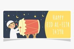 Eid Al Fitr Ramadan Banner, Muslim Boy Hitting Bedug Vector Design vector illustration