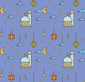 Eid al fitr or ramadan celebration cartoon doodle background for royalty free stock photos