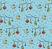 Eid al fitr or ramadan celebration cartoon doodle background for vector illustration