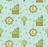 Eid al fitr or ramadan celebration cartoon doodle background for royalty free illustration