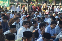 Eid AlAdha祷告在三宝垄 图库摄影