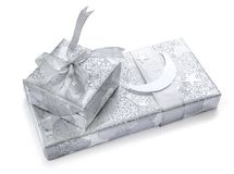 Eid celebrations gift and confetti. Stock Photo