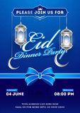 Eid Dinner Party invitation card design with silver illuminated lanterns and crescent moon hang on blue arabic seamless pattern. Background stock illustration