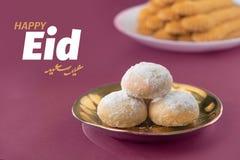 Eid ElFitr祝贺,回教一点假日传统曲奇饼 库存照片