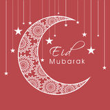 Eid festival celebration with crescent moon and star. Beautiful floral design decorated crescent moon on hanging stars background for Muslim community festival Stock Photography