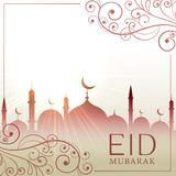 Eid festival greeting card besutiful background with floral deco. Ration Royalty Free Stock Photography