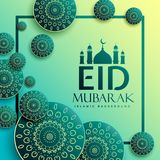 Eid festival greeting design with islamic pattern elements. Vector Royalty Free Stock Image