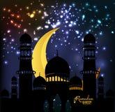 Eid Milad Un Nabi design. Mosque silhouette in night sky with crescent fireworks. Ramadan Kareem lantern design background. Illustration for greeting card Stock Photos