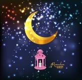 Eid Milad Un Nabi design. Mosque silhouette in night sky with crescent fireworks. Ramadan Kareem lantern design background. Illustration for greeting card Stock Images