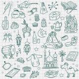 Eid mubarak элемента Doodle иллюстрация вектора