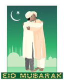 Eid mubarak. An illustration of of two muslims greeting each other in the festival of eid mubarak with mosque background under a starry sky and crescent moon Royalty Free Stock Photos